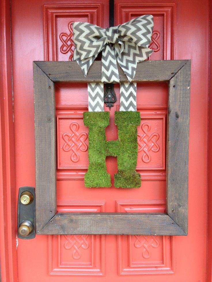 Wood Frame Wreath Burlap Chevron Ribbon Moss Covered