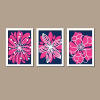 Navy Blue Hot Pink Bedroom Wall Art Bathroom Wall Art