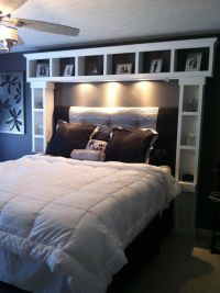 DIY bed :I want these shelves. its like our headboard