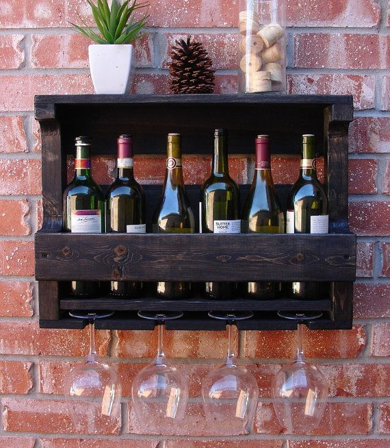 Rustic 6 Bottle Wine Rack With 4 Glass Holder Bottle Wall Wine Rack And Wall Mount