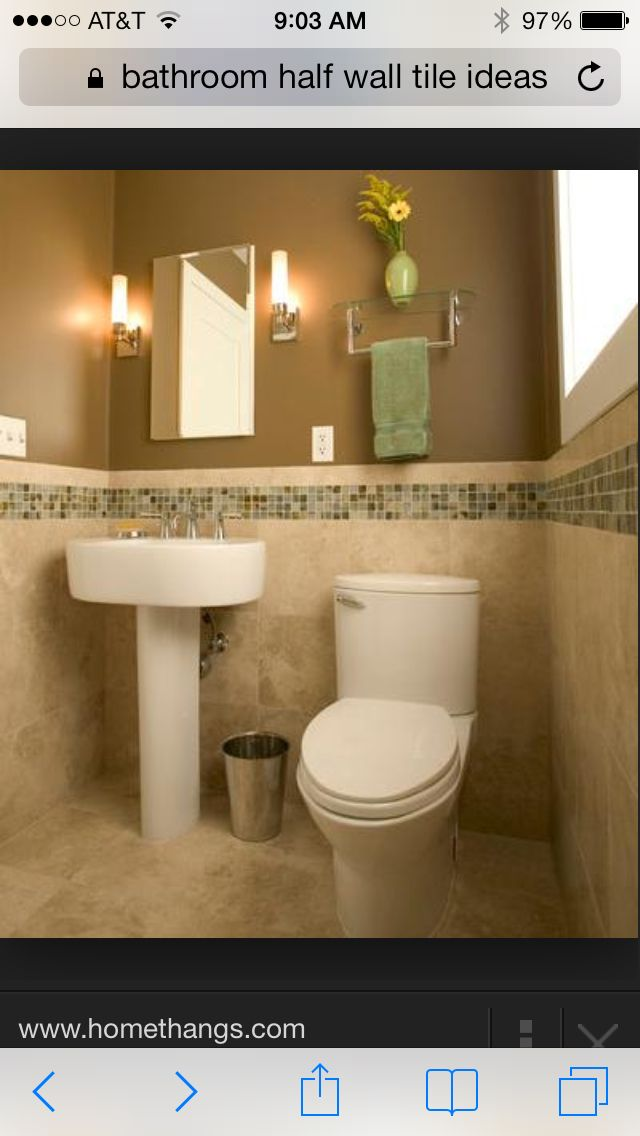 Bathroom half wall tile ideas  For the Home  Pinterest  Tile ideas Bathroom and Tile
