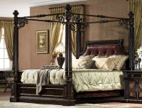 Antique Chestnut Carved King Size Canopy Bed w/ Leather