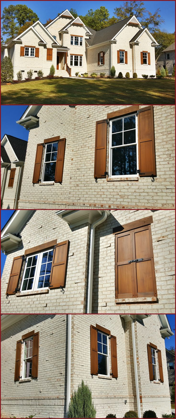 custom built and stained exterior cedar shutters on white brick house