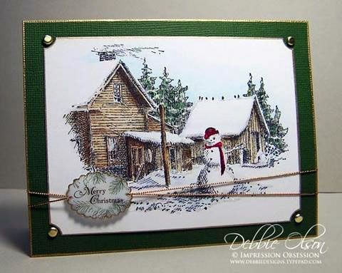 Impression Obsession Rubber Stamps Winter Scene Cards
