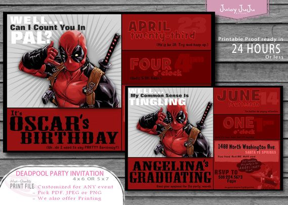 Deadpool Party Invitation Marvel Comics Funny Humor By