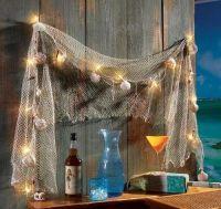 Fish Net Sea Shells Light Strand Outdoor Decor Indoor ...