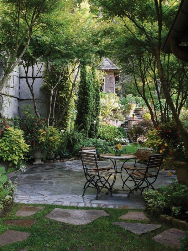 stone patio shaded trees