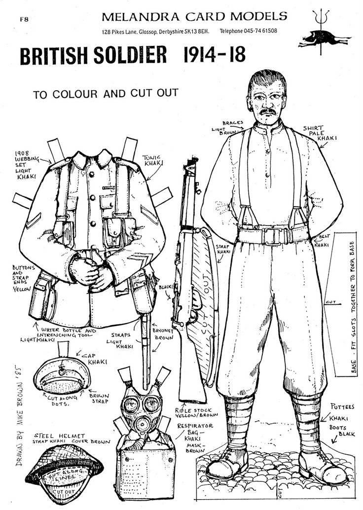 BRITISH SOLDIER 1914-18 from Melandra Card Models, 1985