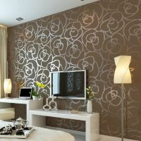 Luxury Flocking Textured Wallpaper Modern Wall paper Roll