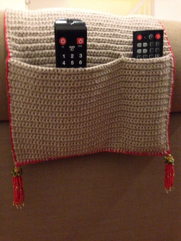no sew chair pockets office wheels crochet remote holder with bead tassel ༺ ƬⱤღ ༻ | gancho pinterest a well, tv controls ...
