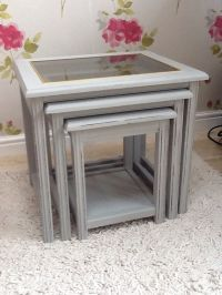 Shabby chic grey nest of 3 tables, French country ...