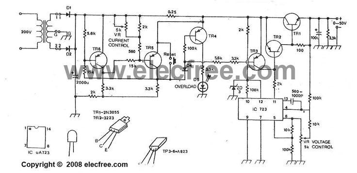 Variable regulator 0-50v 2a ajustable current. Using LM723