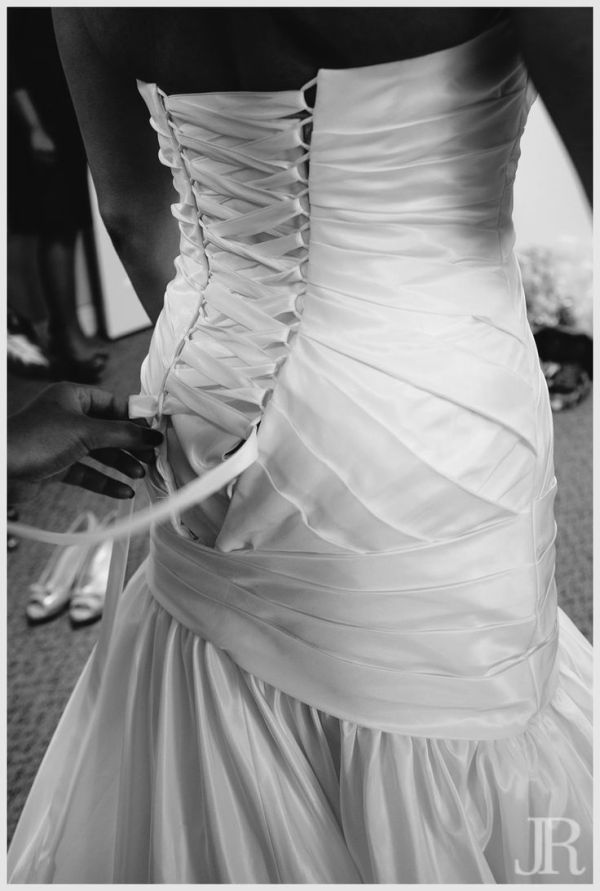 Corset back wedding dress Navy Blue and White Wedding