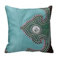 Western Tooled and Filigree Turquoise Leather Look Pillows