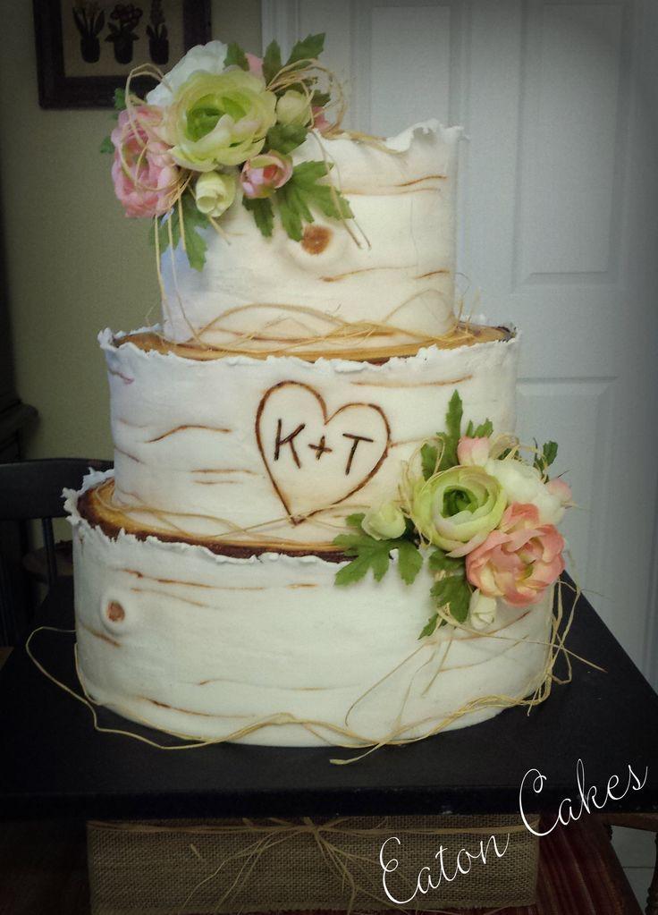Birch wood wedding cake  Cakes  cupcakes   Pinterest