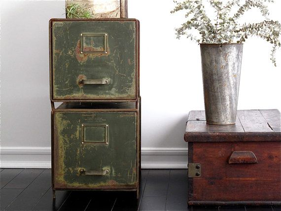 Vintage Metal File Cabinets  Industrial Office  Vintage