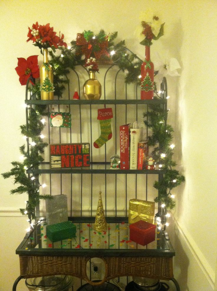 Decorates bakers rack Christmas decorations  Crafty