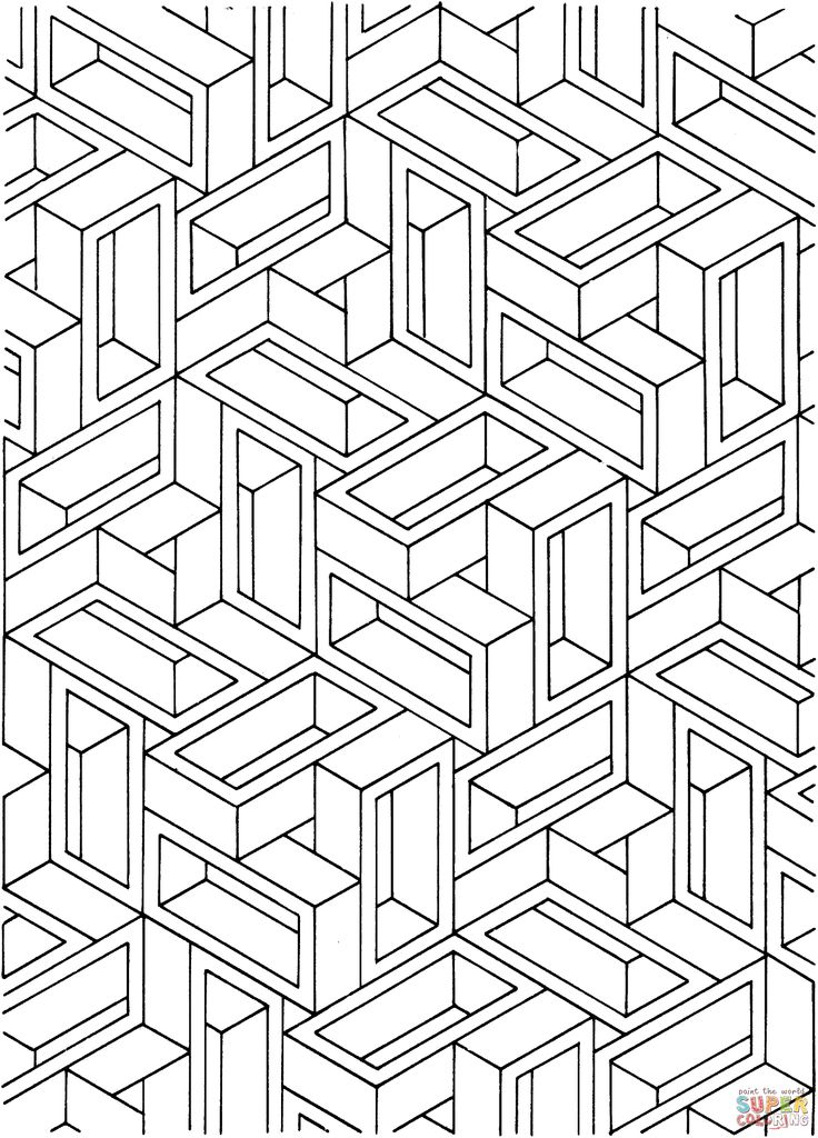 Optical illusion coloring pages to download and print for