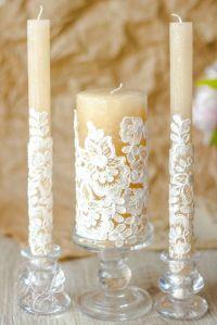 Lace Unity Candle, Rustic Wedding Unity Candle Set