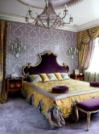 Romantic bedroom in Amethyst Purple and Gold