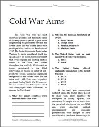 Cold War Aims | Free printable worksheet for high school ...