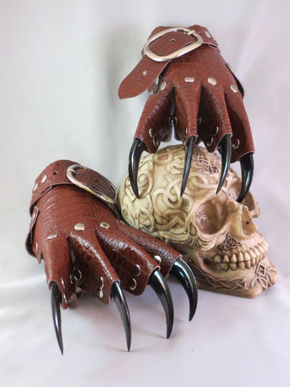 Brown Scale Leather Gothic Steampunk Claw Gauntlets