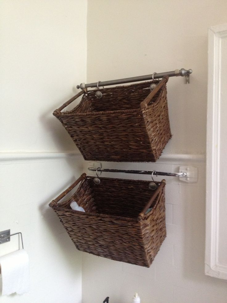 kitchen towel hooks decorative pre made cabinets cut down a curtain rod and hang wicker baskets for cute ...