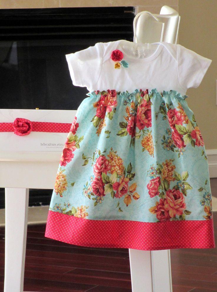 Shabby Chic Dress Teal Baby Onesie Dress Baby Gift