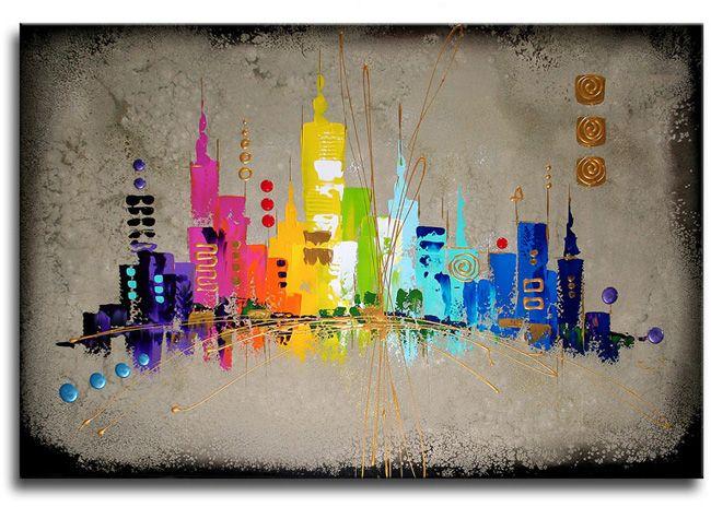 Schilderij Dream City van Ines  Kunstvoorjounl