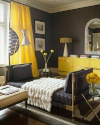 Yellow & gray living room design with charcoal gray walls ...