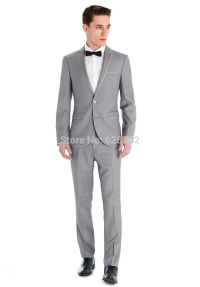 The gallery for --> Grey Suit Black Bow Tie Brown Shoes