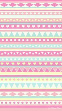 super cute girly blue pink yellow aztec prints wallpaper ...