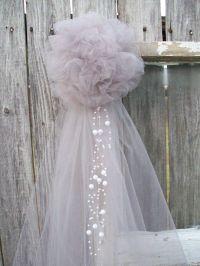 Silver Pew Bow, Grey Wedding Decor, Silver Tulle, Church ...