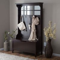 Entryway Hall Tree Coat Rack with Storage Bench Wood ...