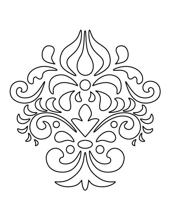 Damask pattern. Use the printable outline for crafts