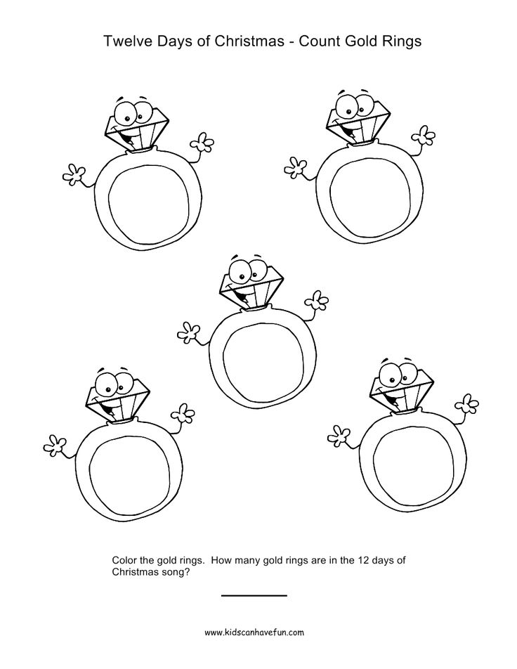12 Days of Christmas Count and Color Golden Rings