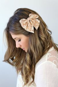 ROSE GOLD BOW, sparkly bow hair clip, sequins grosgrain