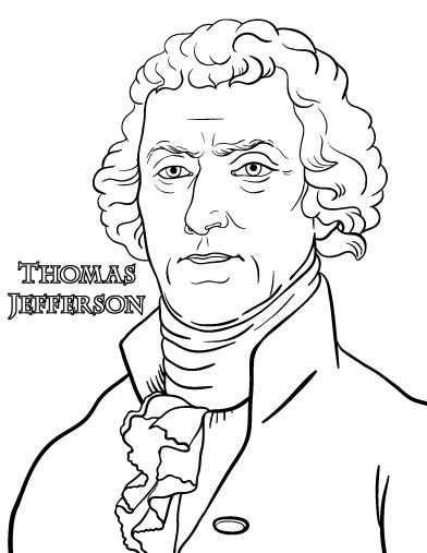 Printable Thomas Jefferson coloring page. Free PDF