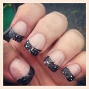 acrylics with black sparkle gel