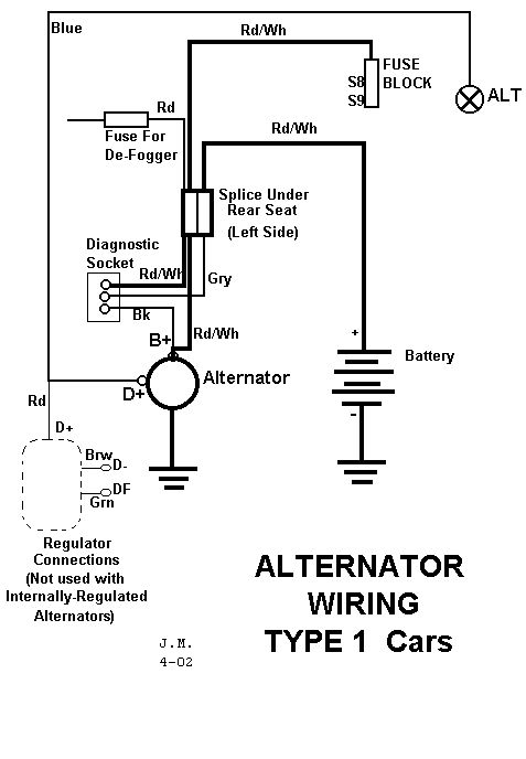 alternator wiring diagram 411 amps volts switch n breaker or
