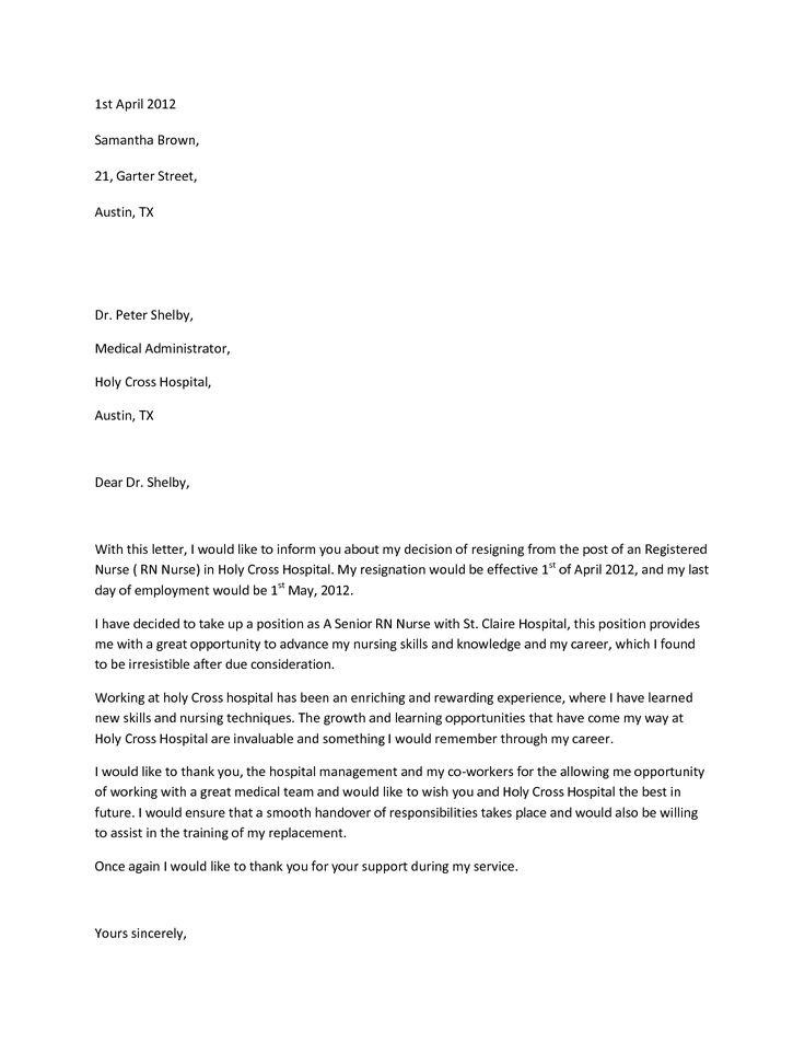 sample nurses cover letter