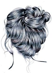 messy bun hair drawing drawn