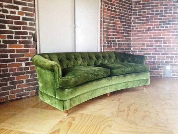 Vintage Hollywood Regency Green Velvet Tufted Sofa Green