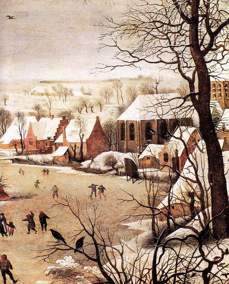 renaissanceart  Pieter Bruegel the Elder c 1565 Winter Landscape with Skaters and a Bird