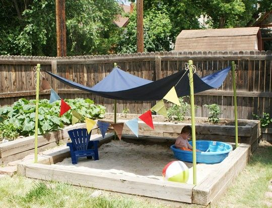 """back yard idea for toddlers….gotta do this with our """"garden"""" that doesn't get enough sun"""