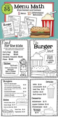 Menu Math Worksheets - menu math hamburger hut worksheets ...