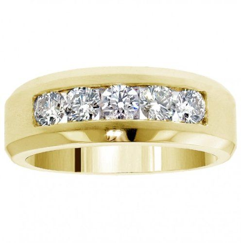 110 CT TW 5 Stone Channel Set Diamond Mens Wedding Ring