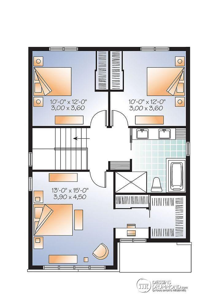 W3710V1  Plan de maison moderne 3 chambres grand vestibule salle de lavage au rezde