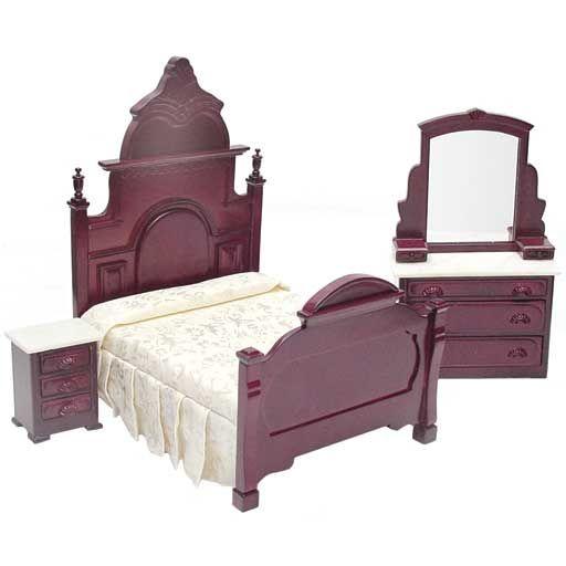 3Pc Marble Top Mahogany Bedroom Set  Marble top