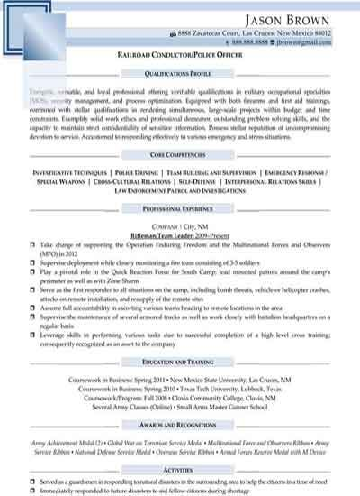 Railroad Conductor Police Officer Sample Resume